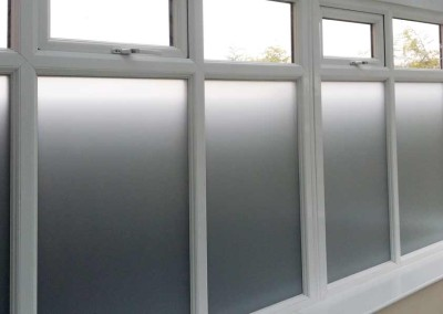 Frosted film to this side glass to hide next door's fence.